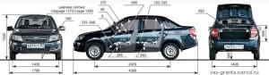 Габаритные размеры автомомбиля